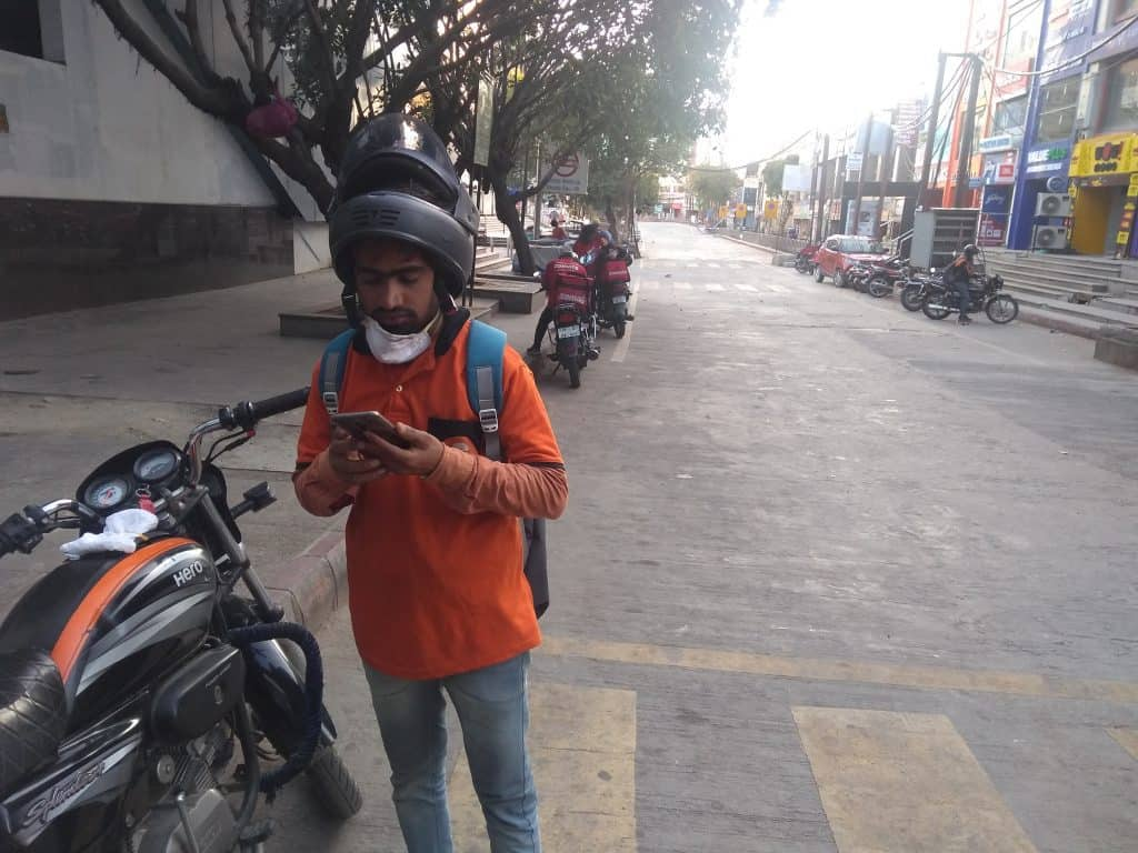 Swiggy Delivery Boy Delivering Food during the Lockdown in NOIDA